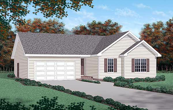 Traditional House Plan 45273 with 3 Beds, 2 Baths, 2 Car Garage Elevation