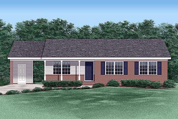 Ranch House Plan 45275 with 4 Beds, 2 Baths, 1 Car Garage Elevation
