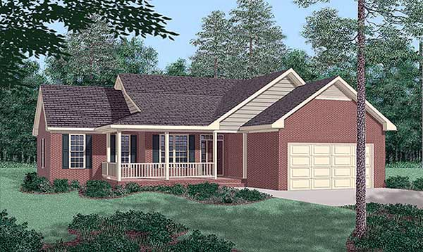 One-Story, Traditional House Plan 45278 with 3 Beds, 2 Baths, 2 Car Garage Elevation