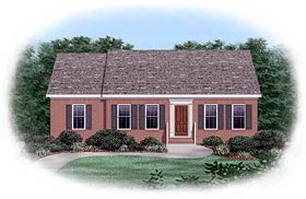 Ranch House Plan 45279 with 3 Beds, 2 Baths Elevation