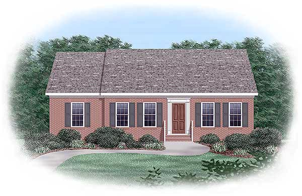 Ranch House Plan 45280 with 3 Beds, 2 Baths Elevation