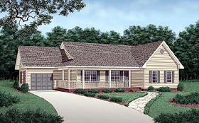 Traditional House Plan 45281 with 3 Beds, 2 Baths, 1 Car Garage Elevation
