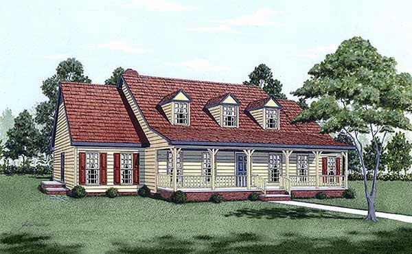 Cape Cod, Country House Plan 45282 with 4 Beds, 4 Baths Elevation