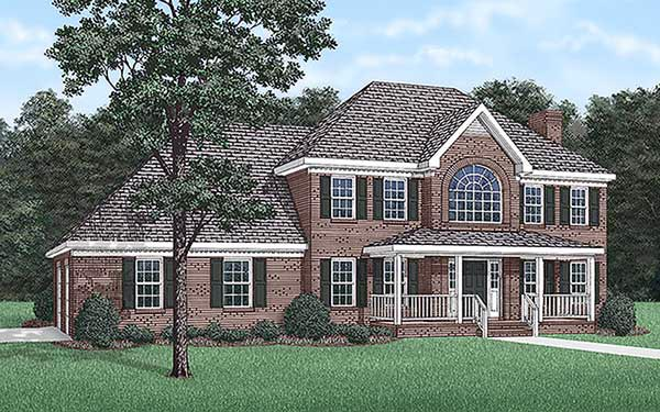 Traditional House Plan 45284 with 3 Beds, 3 Baths, 2 Car Garage Elevation