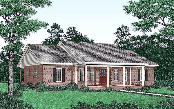 Ranch Elevation of Plan 45285