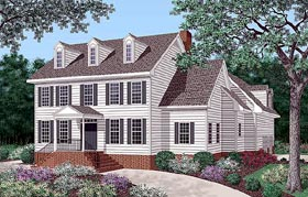 House Plan 45289 | Colonial Style Plan with 2508 Sq Ft, 4 Bedrooms, 5 Bathrooms, 2 Car Garage Elevation