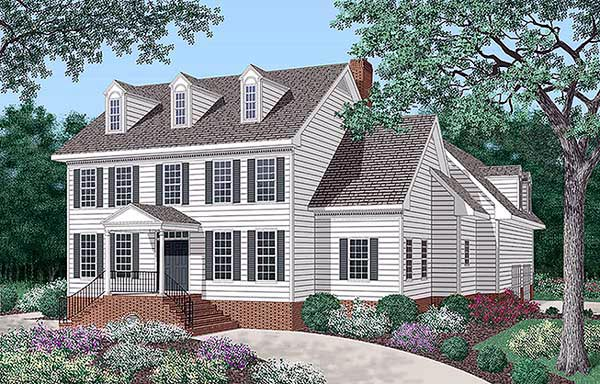 Colonial House Plan 45289 with 4 Beds, 5 Baths, 2 Car Garage Front Elevation