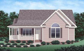 House Plan 45290 | Traditional Style Plan with 1280 Sq Ft, 3 Bedrooms, 2 Bathrooms Elevation