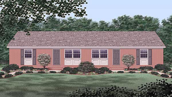 One-Story, Ranch Multi-Family Plan 45291 with 6 Beds, 2 Baths Elevation