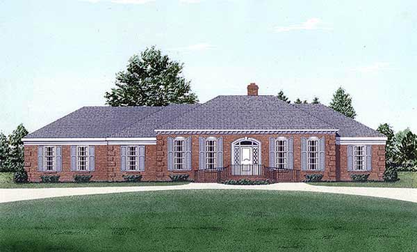 House Plan 45293 | European Style Plan with 1918 Sq Ft, 3 Bedrooms, 2 Bathrooms, 2 Car Garage Elevation