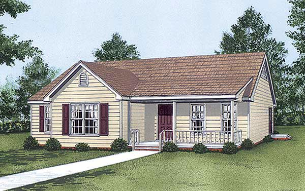 One-Story, Ranch House Plan 45295 with 3 Beds, 2 Baths Elevation