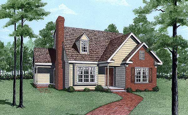 Cape Cod, Narrow Lot House Plan 45296 with 3 Beds, 3 Baths Elevation