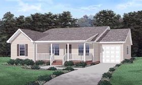 Ranch House Plan 45298 with 3 Beds, 2 Baths, 1 Car Garage Elevation
