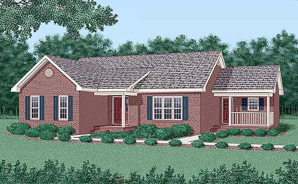 One-Story, Traditional House Plan 45301 with 3 Beds, 2 Baths Front Elevation