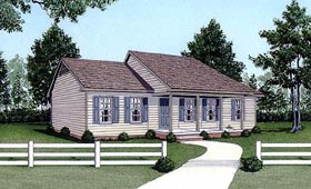 House Plan 45305 | Ranch Style Plan with 1152 Sq Ft, 3 Bedrooms, 2 Bathrooms Elevation