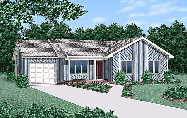 Contemporary Ranch House Plan 45307 Elevation
