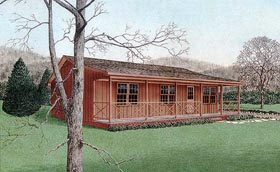 Cabin , Country House Plan 45309 with 3 Beds, 2 Baths Elevation