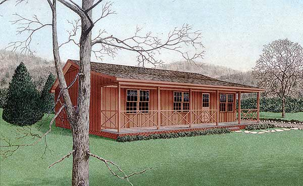 Cabin Country House Plan 45309 Elevation