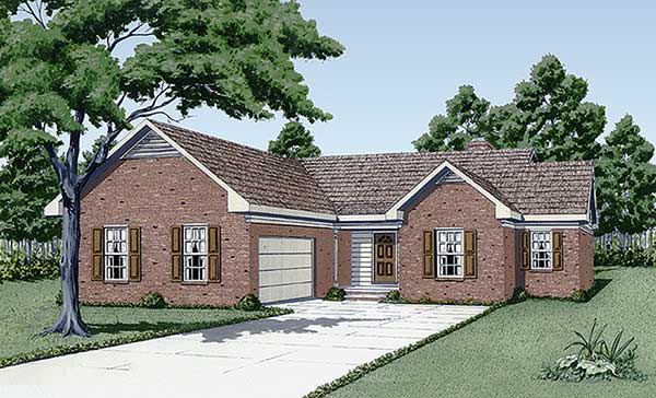 One-Story Traditional Elevation of Plan 45311