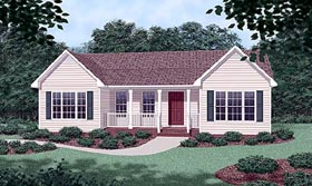 House Plan 45316 | Ranch Style House Plan with 1102 Sq Ft, 3 Bed, 2 Bath Elevation