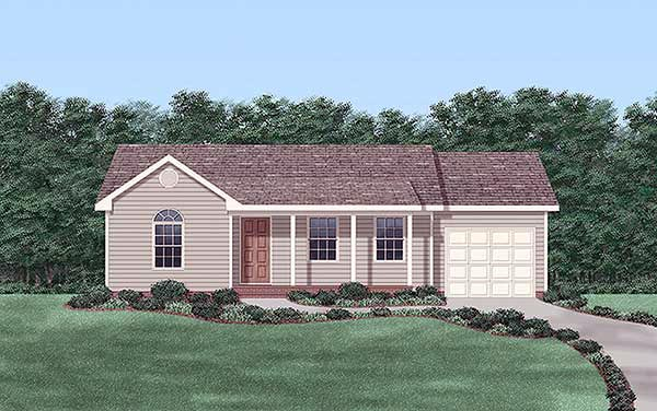 One-Story, Ranch House Plan 45318 with 2 Beds, 1 Baths, 1 Car Garage Elevation