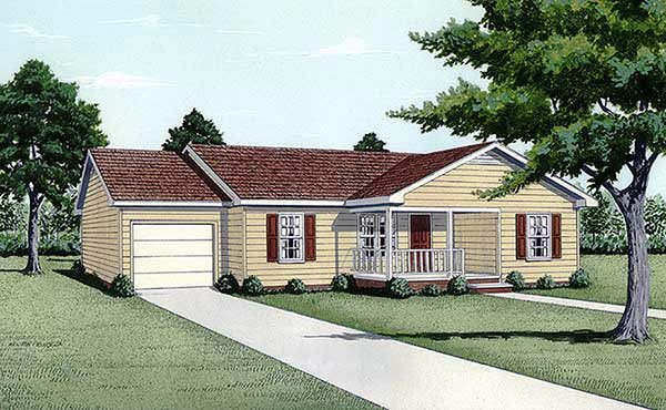 Ranch House Plan 45320 Elevation