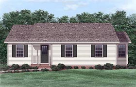 Ranch House Plan 45321 with 3 Beds, 2 Baths Elevation