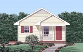 House Plan 45323 with 2 Beds, 1 Baths Elevation