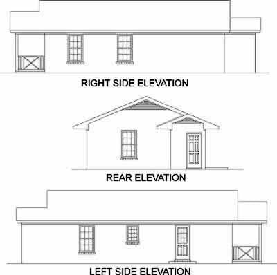 House Plan 45323 with 2 Beds, 1 Baths Rear Elevation