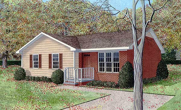 Ranch House Plan 45326 with 3 Beds, 2 Baths Elevation
