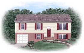 Traditional House Plan 45328 with 3 Beds, 2 Baths, 1 Car Garage Elevation