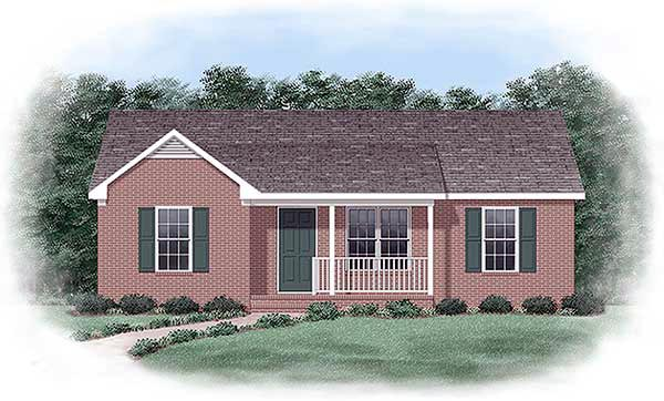 Ranch House Plan 45329 with 3 Beds, 2 Baths Elevation