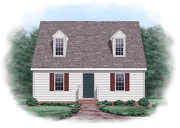 Cape Cod , Narrow Lot House Plan 45330 with 3 Beds, 2 Baths Elevation