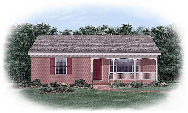 Ranch House Plan 45332 with 2 Beds, 1 Baths Elevation