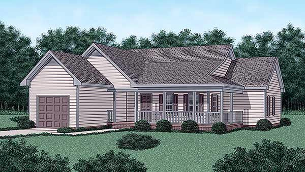 Country, One-Story House Plan 45335 with 3 Beds, 2 Baths, 1 Car Garage Elevation