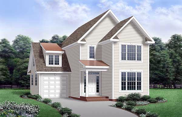 House Plan 45338 | Style Plan with 1704 Sq Ft, 3 Bedrooms, 3 Bathrooms, 1 Car Garage Elevation