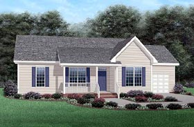 Ranch House Plan 45341 with 3 Beds, 2 Baths, 1 Car Garage Elevation