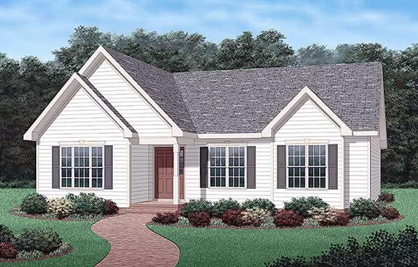 Ranch , Traditional House Plan 45342 with 3 Beds, 2 Baths Elevation