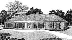 European House Plan 45344 Elevation