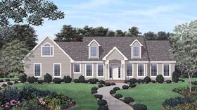 Traditional House Plan 45345 with 3 Beds, 3 Baths, 2 Car Garage Elevation