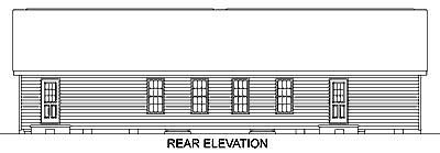 One-Story Ranch Rear Elevation of Plan 45346