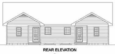 Traditional Multi-Family Plan 45347 Rear Elevation