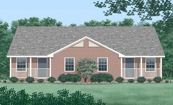 One-Story, Ranch Multi-Family Plan 45348 with 4 Beds, 2 Baths Elevation