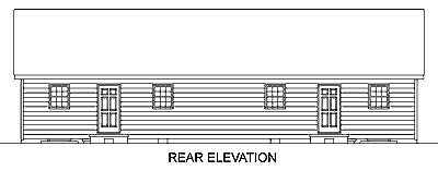Ranch Multi-Family Plan 45350 Rear Elevation