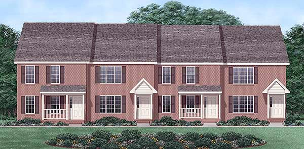 Multi-Family Plan 45352 Elevation
