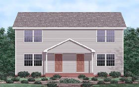 Multi-Family Plan 45353 | Colonial Style Multi-Family Plan with 2240 Sq Ft, 4 Bed, 4 Bath Elevation