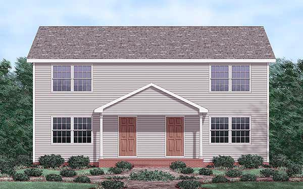 Colonial, Narrow Lot Multi-Family Plan 45353 with 4 Beds, 4 Baths Elevation