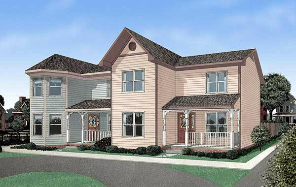 Multi-Family Plan 45356 with 4 Beds, 6 Baths Elevation