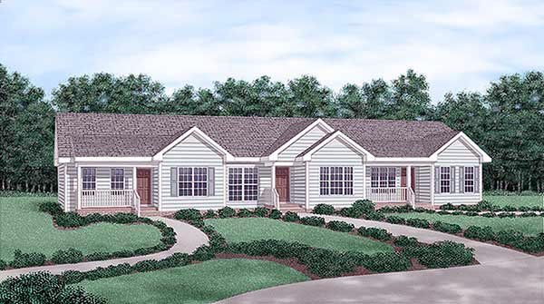 Multi-Family Plan 45357 Elevation