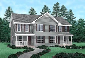 Multi-Family Plan 45358 | Country Style Multi-Family Plan with 2480 Sq Ft, 4 Bed, 6 Bath Elevation